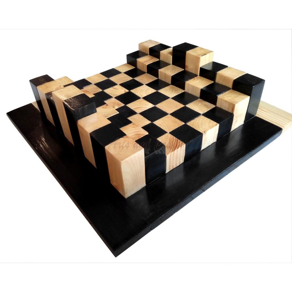 Tabla de sah handmade, din lemn, 3D