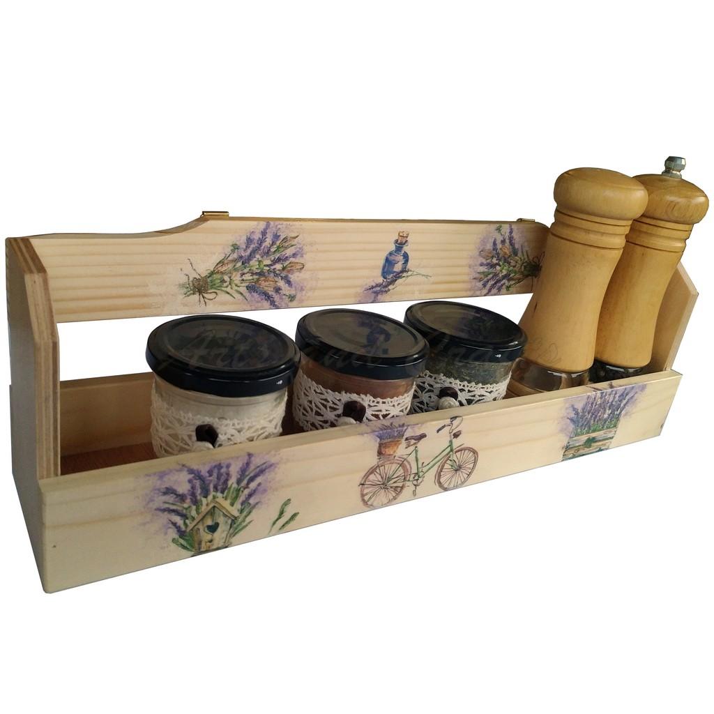 """Suport din lemn pentru condimente model """"Lavanda"""""""