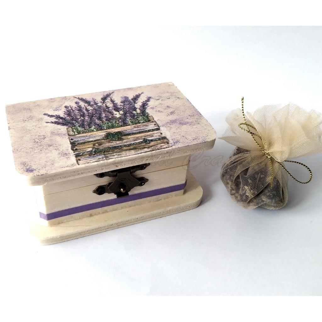 Cutiuta din lemn, cu lavanda 10x6x4.5 cm - model 7