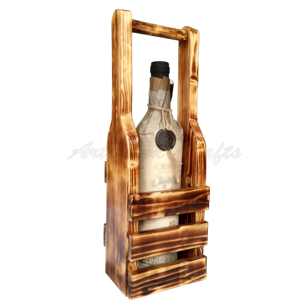 Suport din lemn, handmade, pentru o sticla de vin - cod aac0260