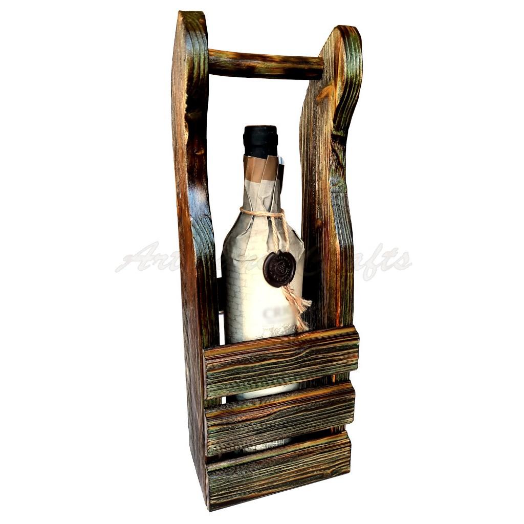 Suport din lemn, handmade, pentru o sticla de vin - cod aac0264