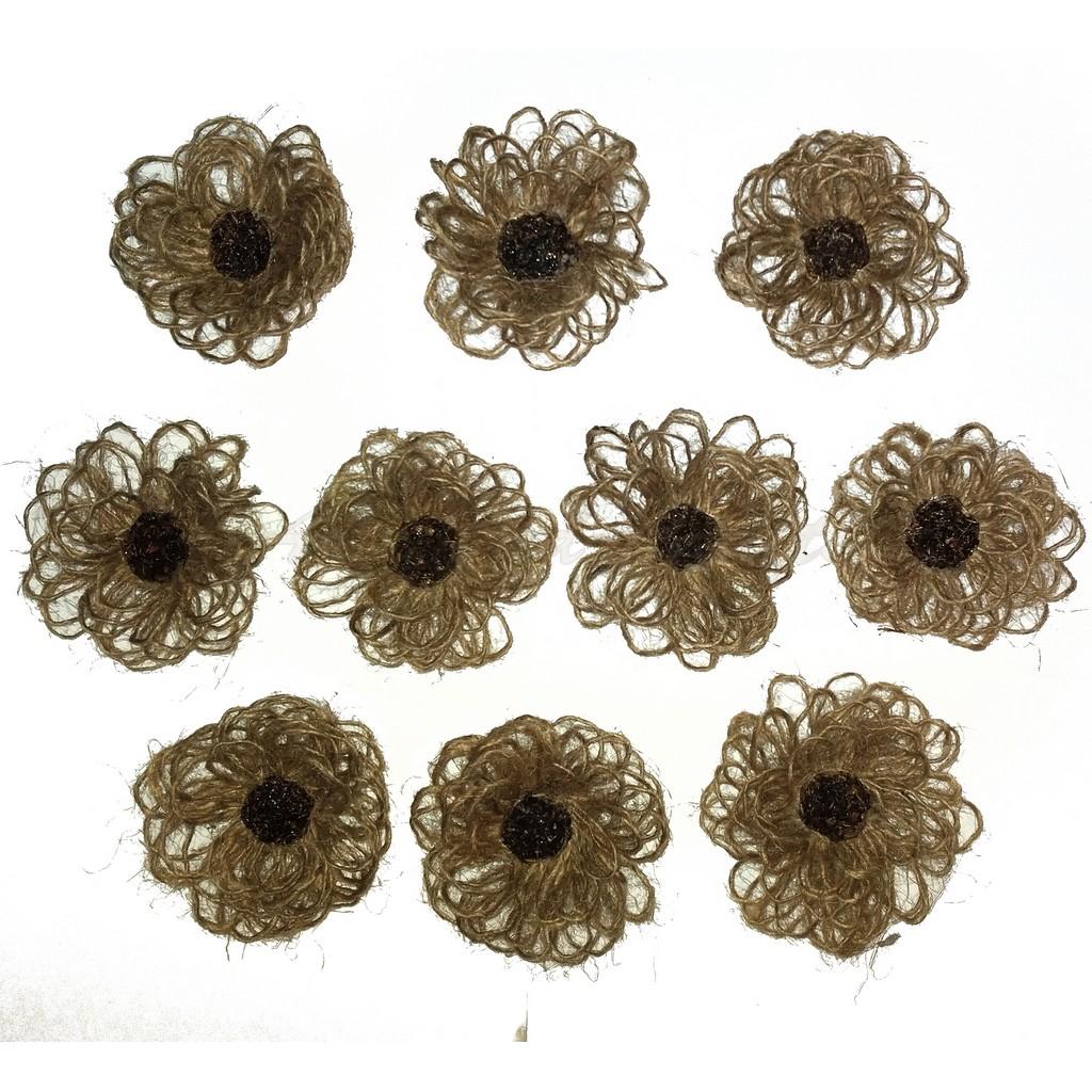 Flori din iuta, diametru 6-7 cm - model2, set de 10 buc
