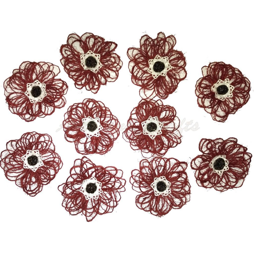 Flori din iuta, diametru 9-10 cm - model 3, set de 10 buc