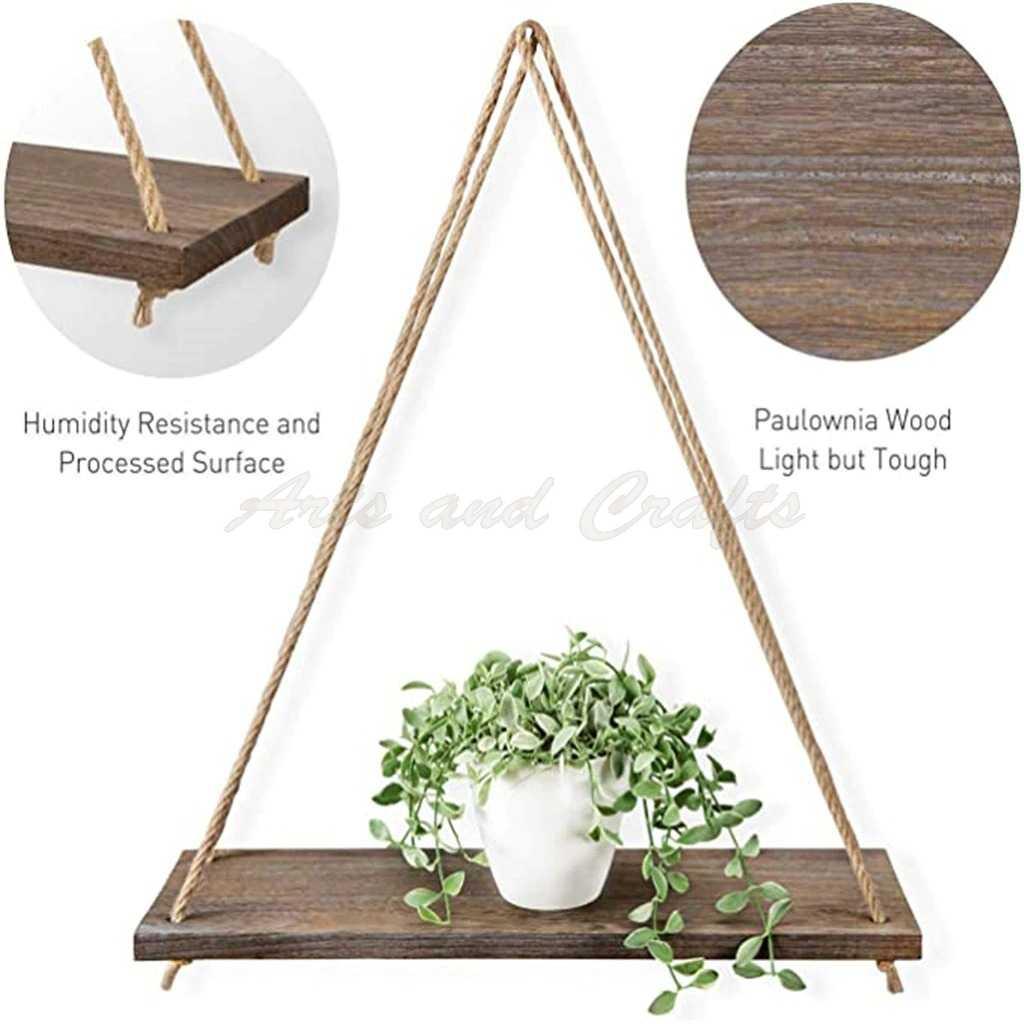 Rafturi din lemn de paulownia, suspendate cu franghie